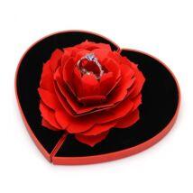 Piros rózsa gyűrűtartó - piros szív díszdobozban