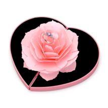 Rózsaszín rózsa gyűrűtartó - rózsaszín szív díszdobozban