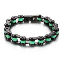 Motorlánc- acél  férfi karkötő - fekete,zöld