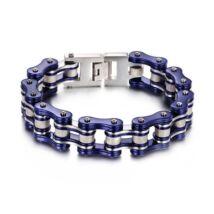 Motorlánc- acél  férfi karkötő - ezüst,kék
