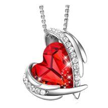 Red Angel- Swarovski kristályos nyaklánc-piros-ezüst