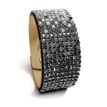 9 kősoros bőr karkötő- Hematite gradient - Swarovski kristályos - fekete