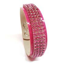 4 kősoros bőr karkötő- Rose , ezüst- Swarovski kristályos - rózsaszín