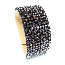 9 kősoros bőr karkötő- Hematite - Swarovski kristályos - fekete