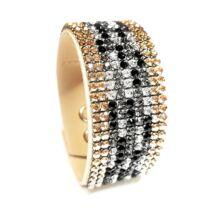 9 kősoros bőr karkötő- Black Diamond - Swarovski kristályos