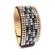 9 kősoros bőr karkötő- Golden Shadow,Jet, Black Diamond, Crystal- Swarovski kristályos
