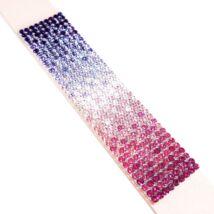 9 kősoros bőr karkötő- lila-rózsaszín színátmenetes - Swarovski kristályos
