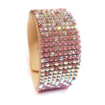 9 kősoros bőr karkötő - barackos-rózsaszín- Swarovski kristályos