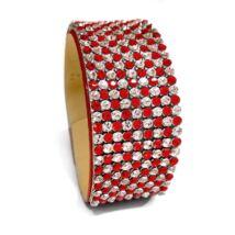 9 kősoros bőr karkötő - Light Siam, Crystal pepita - Swarovski kristályos - piros