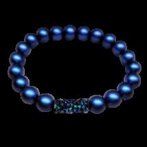 Swarovski gyöngy karkötő - Crystal Tube Bermuda Blue dísszel - kék