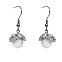 Swarovski gyöngy fülbevaló - White - fehér