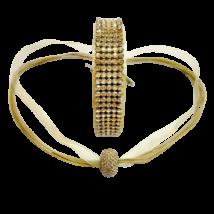 5 kősoros bőr karkötő, hozzá illő nyaklánccal - Golden Shadow - Swarovski kristályos - arany