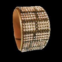 11 kősoros bőr karkötő- Silk&Bronze - Swarovski kristályos
