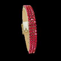 3 kősoros bőr karkötő- Indian Pink - Swarovski kristályos - rózsaszín