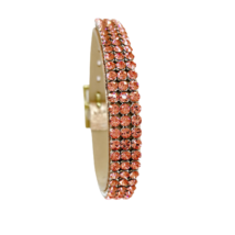 3 kősoros bőr karkötő- Rose Peach - Swarovski kristályos - rózsaszín