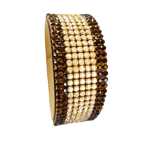 9 kősoros bőr karkötő - Mocca, Golden Shadow - Swarovski kristályos - barna