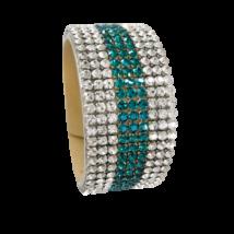 9 kősoros bőr karkötő - Turquoise, Crystal - Swarovski kristályos - zöld