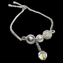 Swarovski kristály és gyöngy karkötő  - White, Light Grey, AB Crystal
