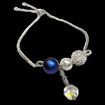 Swarovski kristály és gyöngy karkötő  - White, Iridescent Dark Blue, AB Crystal