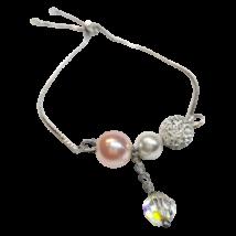 Swarovski kristály és gyöngy karkötő  - White, Rosaline, AB Crystal