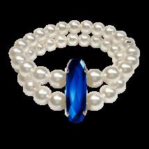 Swarovski kristályos dupla gyöngy karkötő  - White- Majestic Blue