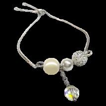 Swarovski kristály és gyöngy karkötő  - állítható méretű - Cream