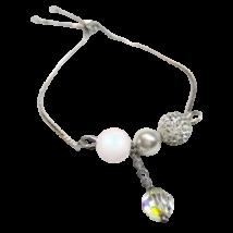 Swarovski kristály és gyöngy karkötő  - állítható méretű - White