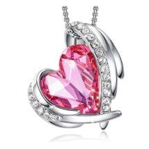 Pink Angel- Swarovski kristályos nyaklánc-rózsaszín-ezüst