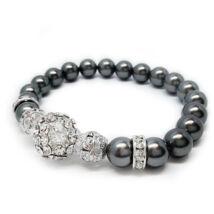 Swarovski gyöngy karkötő - Dark Grey , Crystal kristálygyönggyel