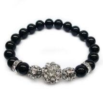Swarovski gyöngy karkötő - Mystic Black, nagyméretű kristálygömbbel - fekete