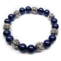 Swarovski gyöngy karkötő - Dark Purple - kék