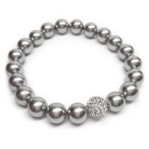 Swarovski gyöngy karkötő - Light Grey  - White kristálygyönggyel - ezüst