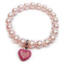 Swarovski gyöngy karkötő -szív charmmal - Rosaline - rózsaszín