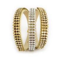 3*3 kősoros bőr karkötő - Golden Shadow, Moonlight - Swarovski kristályos - arany