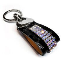 4 kősoros bőr kulcstartó - Crystal AB - Swarovski kristályos - fehér