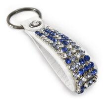 3 kősoros bőr kulcstartó - Kék mozaik - Swarovski kristályos
