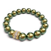 Swarovski kristályos gyöngy karkötő  - Iridescent Green