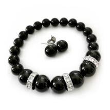 Exkluzív Swarovski kristály szett - nyaklánc-fülbevaló - Black