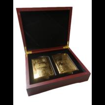 24 karátos aranyfóliával készült PÓKERKÁRTYA nagyméretű mahagóni díszdobozban