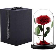 Üvegbúrás örökrózsa, LED világítással, virágszirmokkal - piros - 23*11 cm