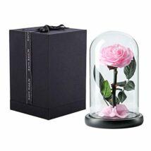 Üvegbúrás örökrózsa, LED világítással, virágszirmokkal - rózsaszín - 23*11 cm