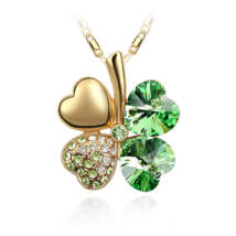 Arany szerencse - zöld - Swarovski kristályos - Medál