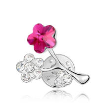 Virágszál - bross, magenta - Swarovski kristályos