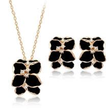 Fekete virágok ékszerszett - Swarovski kristályos