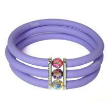 Toobe - 3 soros, Swarovski kristályos szilikon-bronz karkötő - Purple
