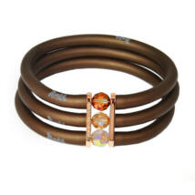 Toobe - 3 soros, Swarovski kristályos szilikon-bronz karkötő - Bronze