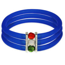 Toobe - 3 soros, Swarovski kristályos szilikon-bronz karkötő - Sapphire blue