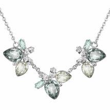 LEAF - Kézzel készített Swarovski kristályos nyaklánc -  Crystal, Silver Shade, Black diamond