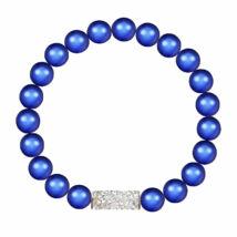 Tube and Pearl - Kézzel készített Swarovski kristályos karkötő - Iridescent Dark Blue - kék