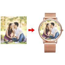 Fotó-karóra készítés egyedi képpel - választható szöveg gravírozással - óra jelzéssel - rózsaarany színben